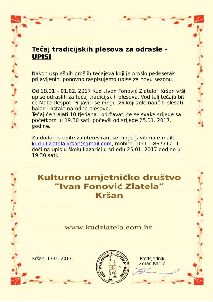 Tečaj tradicijskih plesova za odrasle 2017-1