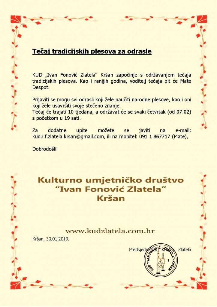 Tečaj tradicijskih plesova za odrasle 2019.1.